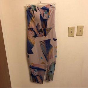 Women's ASOS Strapless Geometric Print Midi Dress